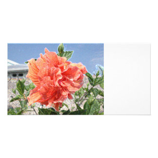 salmon hibiscus abstract sparkle building custom photo card