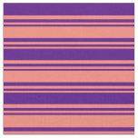 [ Thumbnail: Salmon & Indigo Colored Stripes Fabric ]