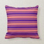 [ Thumbnail: Salmon & Indigo Colored Stripes Throw Pillow ]