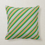 [ Thumbnail: Salmon, Light Blue, Lime, Blue & Green Colored Throw Pillow ]