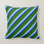 [ Thumbnail: Salmon, Light Sea Green, Cyan, Blue & Dark Green Throw Pillow ]