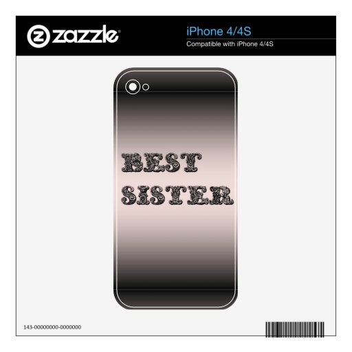 Salmon metallic Best Sister Skin For The iPhone 4S