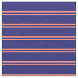 [ Thumbnail: Salmon & Midnight Blue Colored Lined Pattern Fabric ]