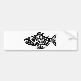 Salmon Native American Design Bumper Sticker
