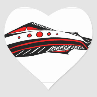 Salmon Native art Heart Sticker