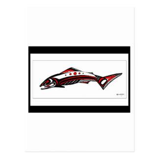 Salmon Native art Postcard