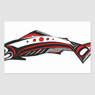 Salmon Native art Rectangular Sticker