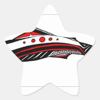 Salmon Native art Star Sticker