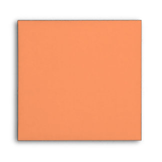Salmon Orange Square Scrollwork Monogram Envelopes