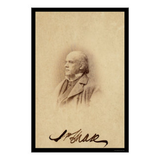 Salmon P. Chase Signed Card 1862 Poster