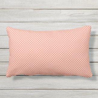 Salmon Pastel Tiny Check Outdoor Lumbar Pillow