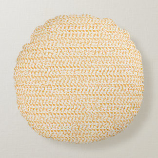 Salmon Peach Weave Mesh Look Round Pillow