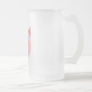 Salmon piggy frosted glass beer mug