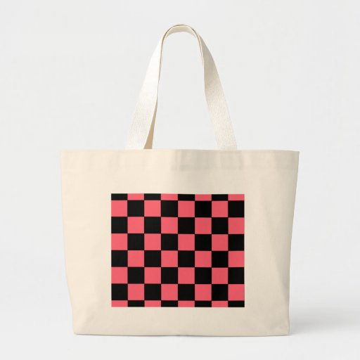 Salmon Pink and Black Squares Checkerboard Tote Bag