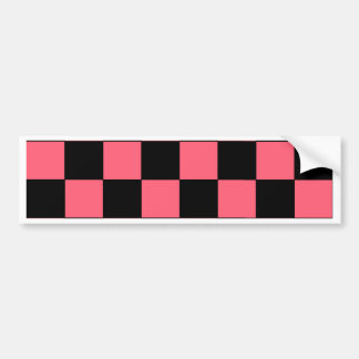 Salmon Pink and Black Squares Checkerboard Bumper Stickers