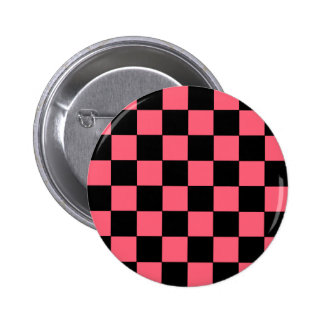 Salmon Pink and Black Squares Checkerboard 2 Inch Round Button