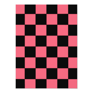 Salmon Pink and Black Squares Checkerboard Card