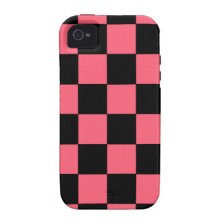 Salmon Pink and Black Squares Checkerboard Case-Mate iPhone 4 Case