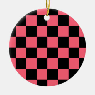 Salmon Pink and Black Squares Checkerboard Ceramic Ornament
