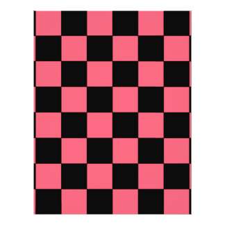 Salmon Pink and Black Squares Checkerboard Flyer