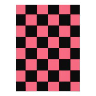 Salmon Pink and Black Squares Checkerboard 5.5x7.5 Paper Invitation Card