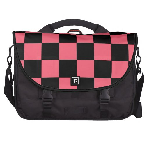 Salmon Pink and Black Squares Checkerboard Laptop Messenger Bag