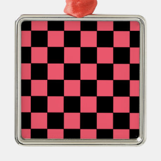 Salmon Pink and Black Squares Checkerboard Metal Ornament