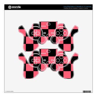 Salmon Pink and Black Squares Checkerboard PS3 Controller Skins