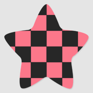 Salmon Pink and Black Squares Checkerboard Star Sticker