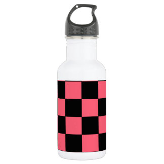 Salmon Pink and Black Squares Checkerboard Water Bottle