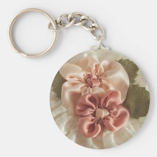 Salmon Pink And Peach Flower Keychain Keychain