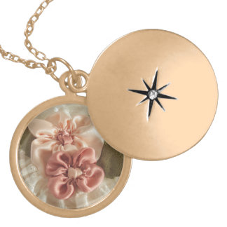 Salmon Pink And Peach Flower Locket Necklace