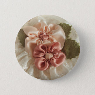 Salmon Pink And Peach Flower Pinback Button
