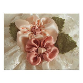 Salmon Pink And Peach Flower Poster
