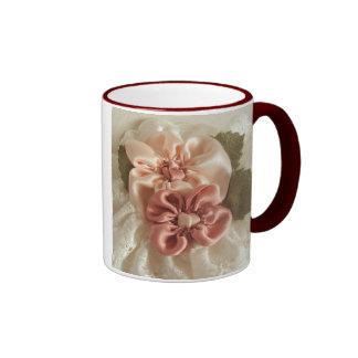 Salmon Pink And Peach Flower Ringer Mug