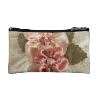 Salmon Pink And Peach Flowers Makeup Bag