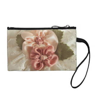 Salmon Pink And Peach Flowers Change Purse