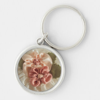 Salmon Pink And Peach Flowers Keychain