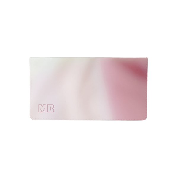 Salmon pink and satin-look with your initials checkbook cover