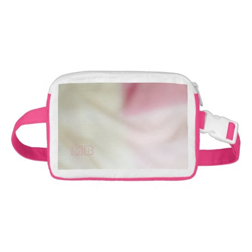 Salmon pink and satin-look with your initials fanny pack