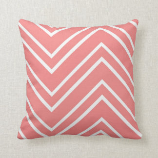 Salmon Pink and White Large Chevron Pattern Pillows