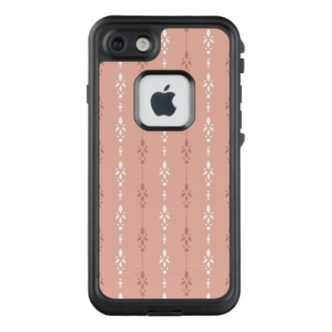 Salmon pink cascading floral striped LifeProof FRĒ iPhone 7 case
