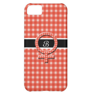 Salmon Pink Check+Female Sign+Your Initials Case For iPhone 5C