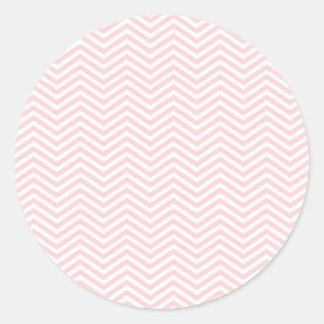 Salmon Pink Chevron Classic Round Sticker