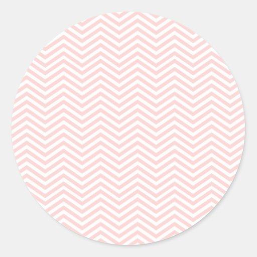 Salmon Pink Chevron Round Sticker