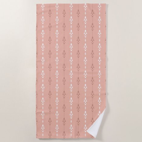 Salmon Pink dainty crystal showers design Beach Towel