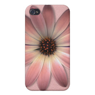 Salmon Pink Daisy on Salmon Pink Leather Case For iPhone 4
