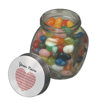 Salmon Pink Deer Heart Personalized Name Glass Candy Jar