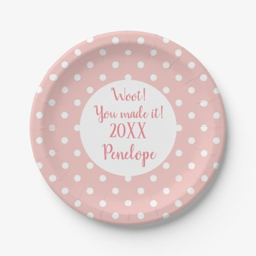 Salmon Pink Dots Pattern Grad Name and Date Paper Plate