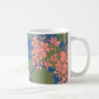 Salmon Pink Geranium Screen-printed Design Coffee Mug